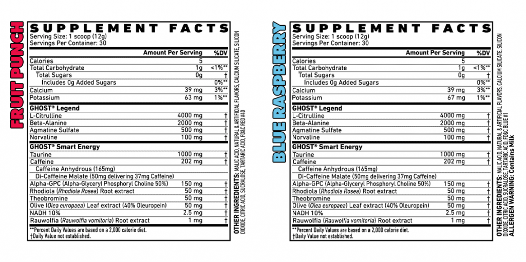 Ghost Legend Pre Workout Label