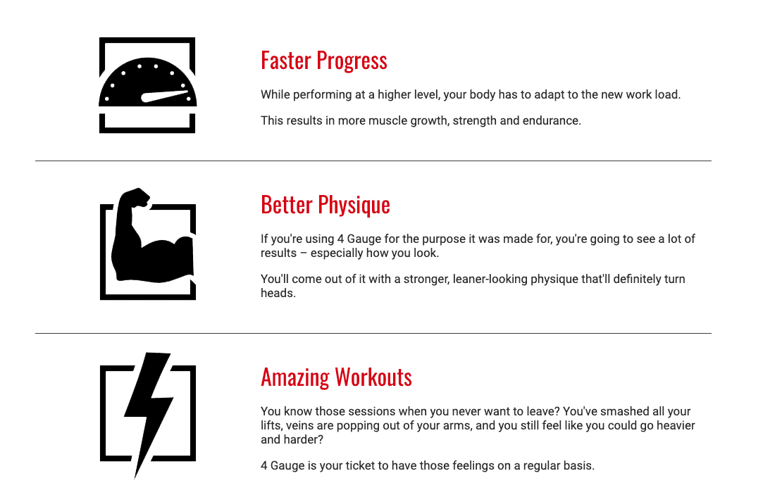 features of 4 gauge preworkout supplement