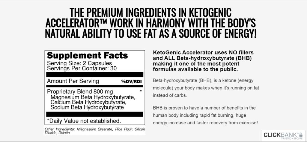 ingredients of ketogenic accelerator