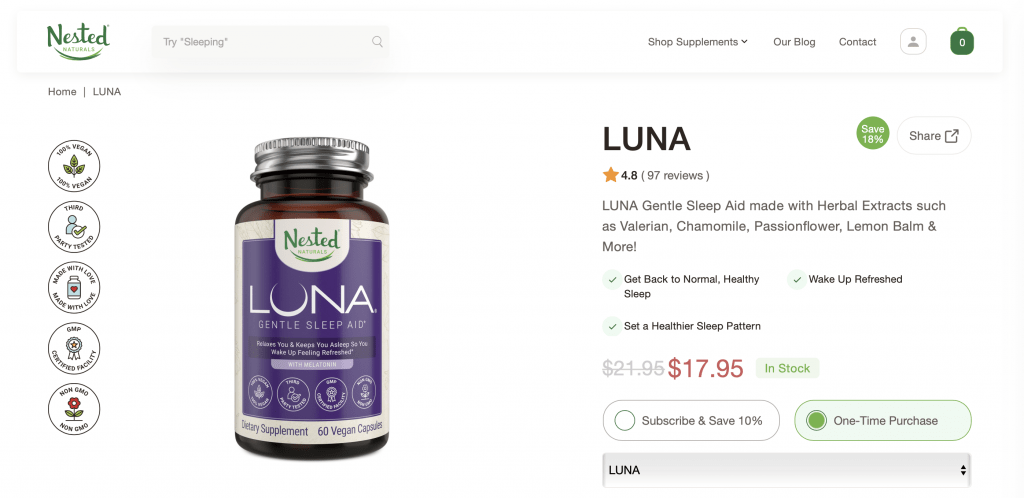 Luna Gentle Sleep Aid Website