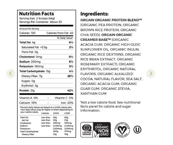 Orgain Protein Ingredients
