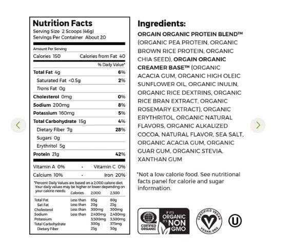 Orgain Protein Ingredients