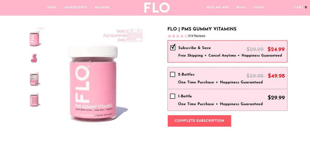 FLO PMS Gummy Vitamins Website