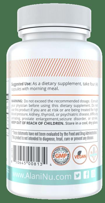 Alani Nu Balance Dietary Supplement Back label