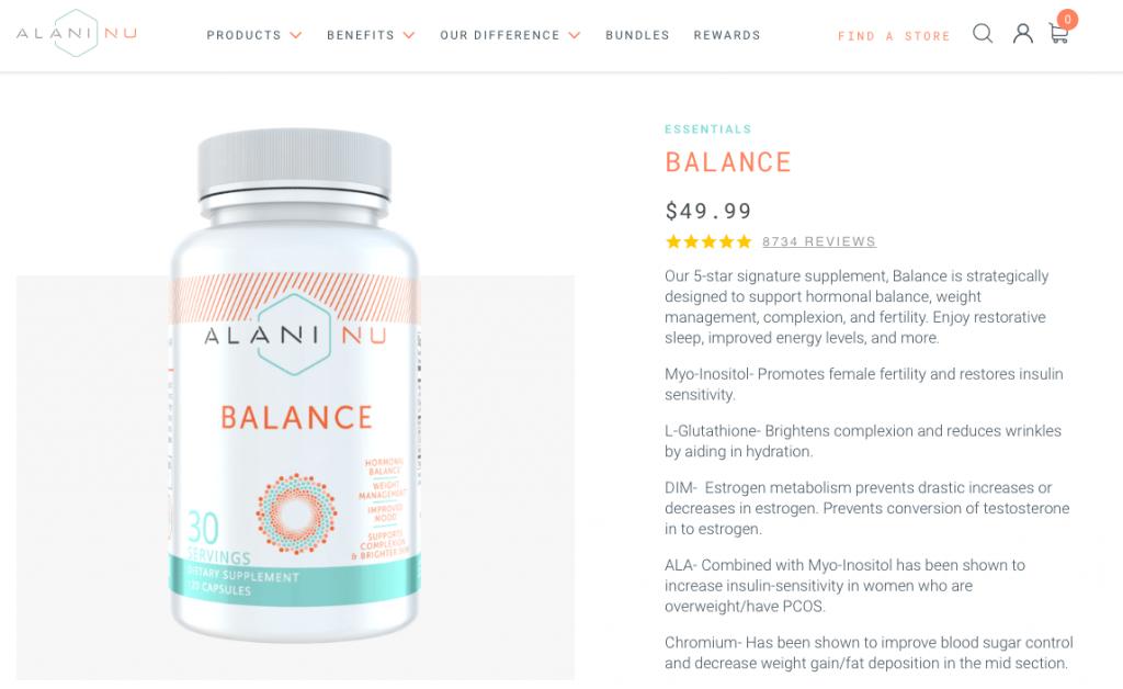 Alani Nu Balance Dietary Supplement Website