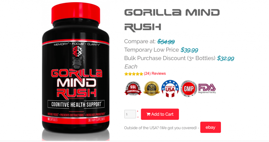 Gorilla Mind Rush Nootropic Pricing