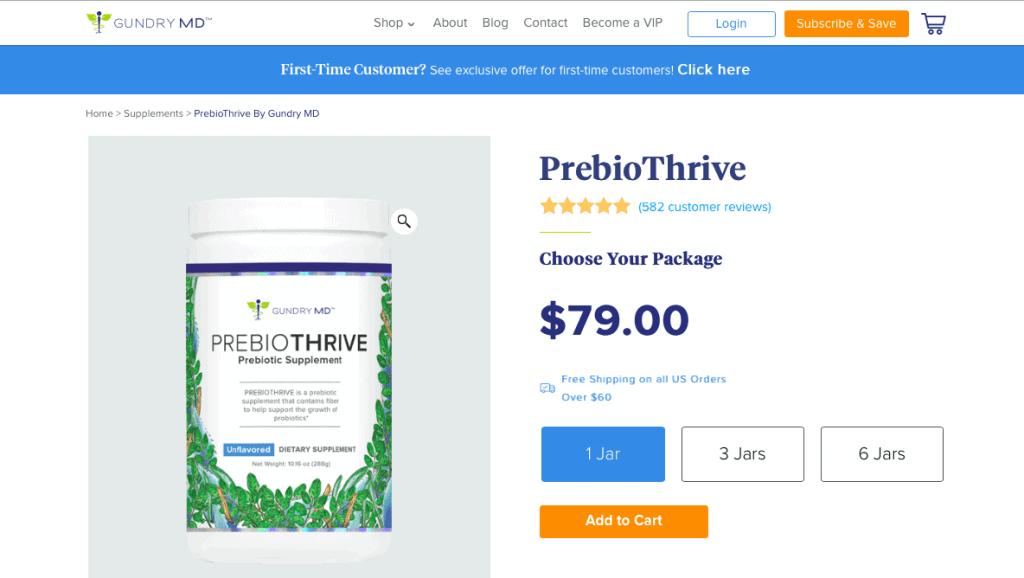 PrebioThrive by Gundry MD Supplement Website