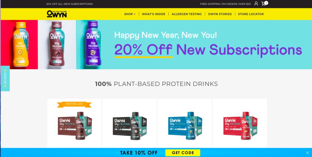 Owyn Vegan Protein Shake Website