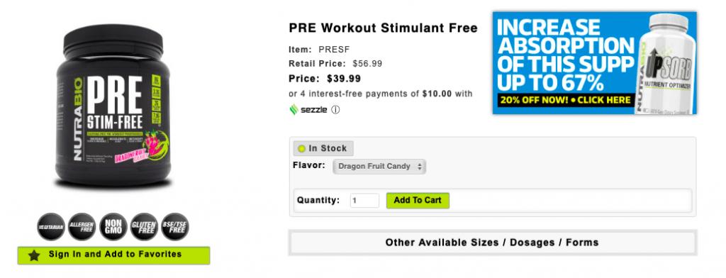 NutraBio PRE Stim-Free Product