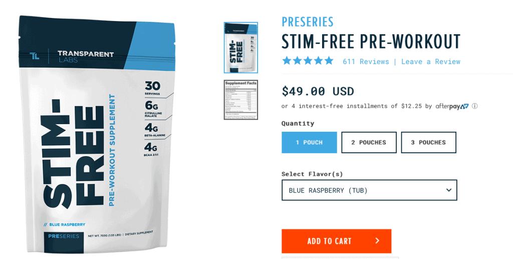Transparent Labs PreSeries STIM-FREE Product