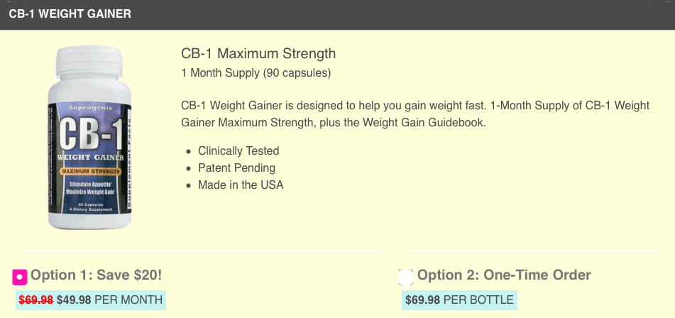 CB-1 Weight Gainer Website