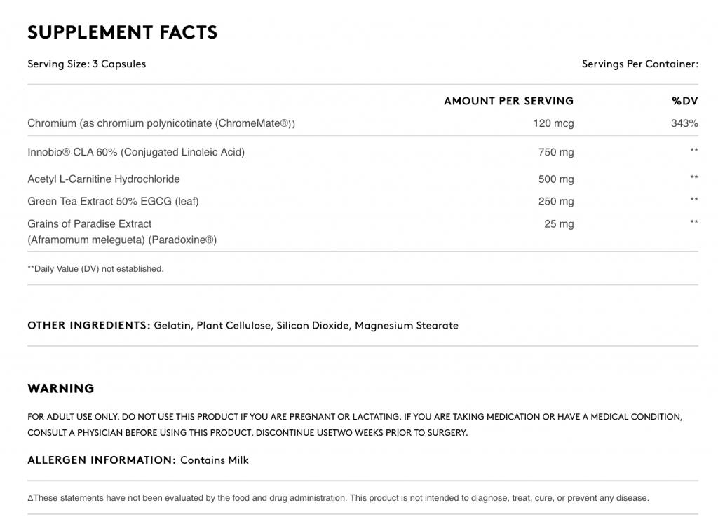 Quadralean Supplement facts