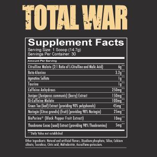 Total War Pre Workout Powder Supplement Fact