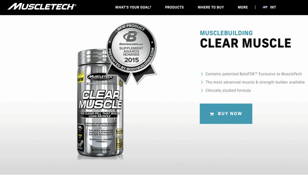 MuscleTech Clear Muscle Website