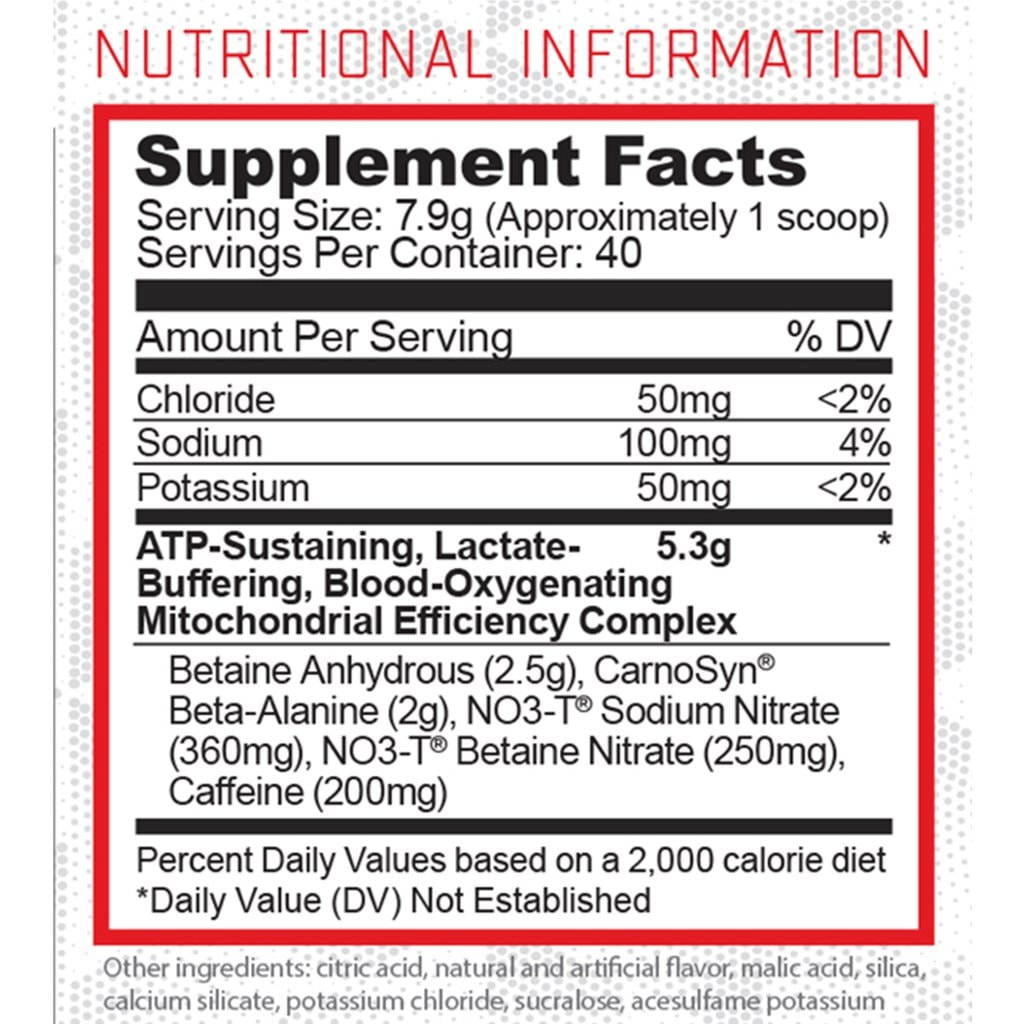 Condense Pre-Workout Supplement Facts
