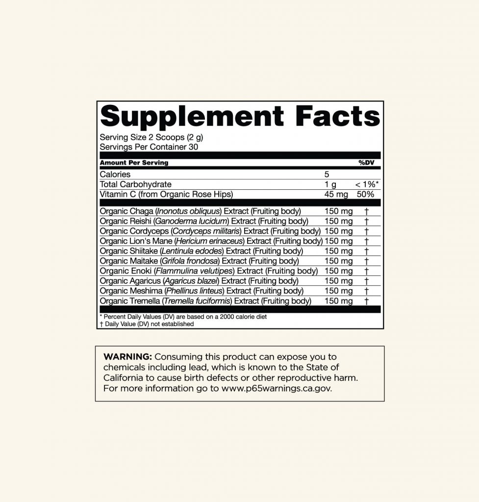 Four Sigmatic 10 Mushroom Blend supplement facts