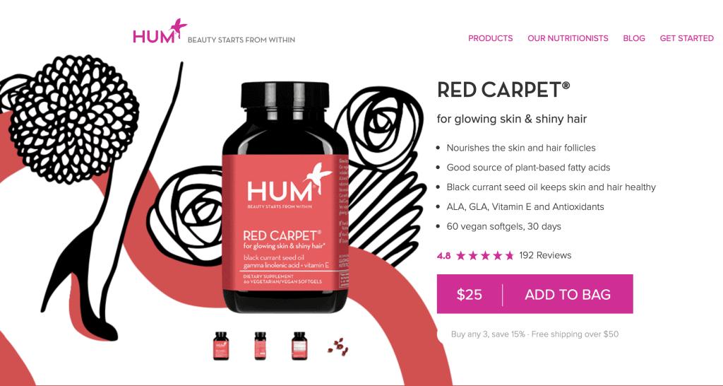 Hum Nutrition Red Carpet website