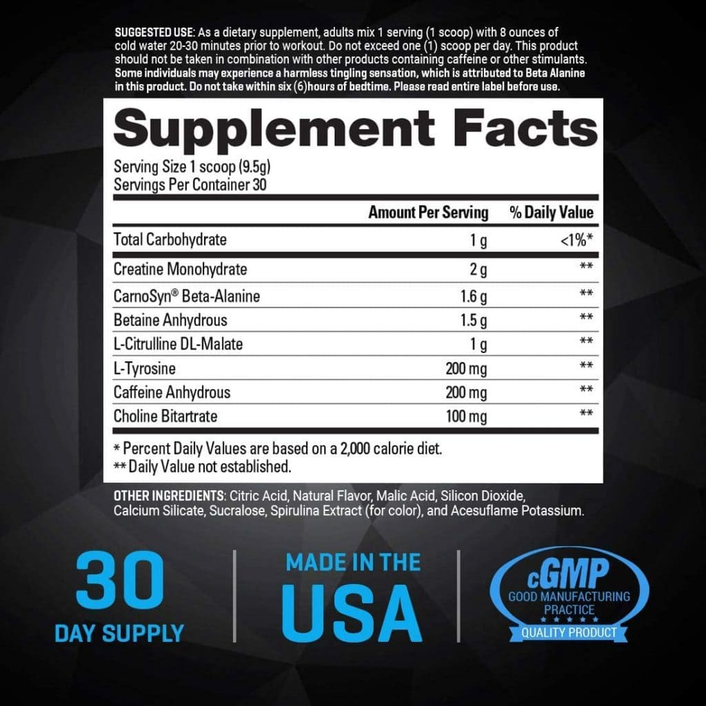 Ion Pre-Workout supplement facts