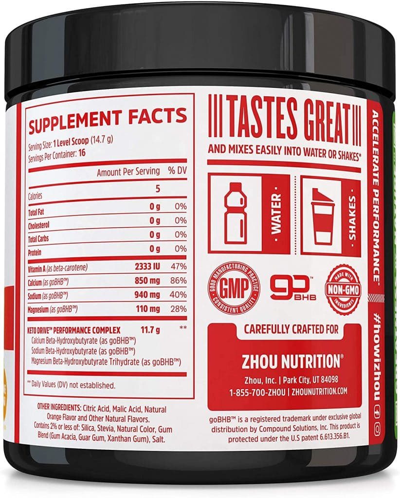 Keto Drive supplement facts