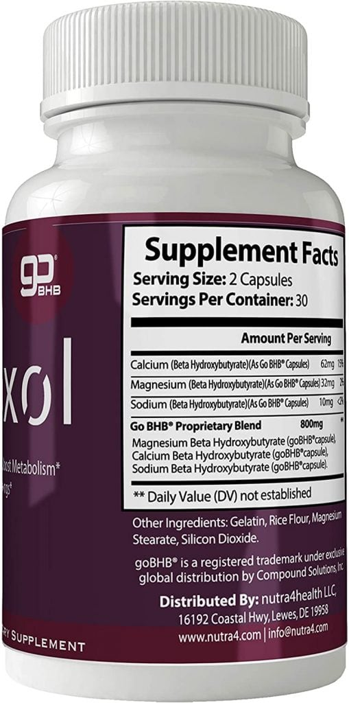 Ketoxol Supplement facts