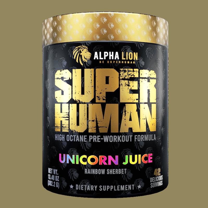 SUPERHUMAN Pre-Workout supplement unicorn flavor