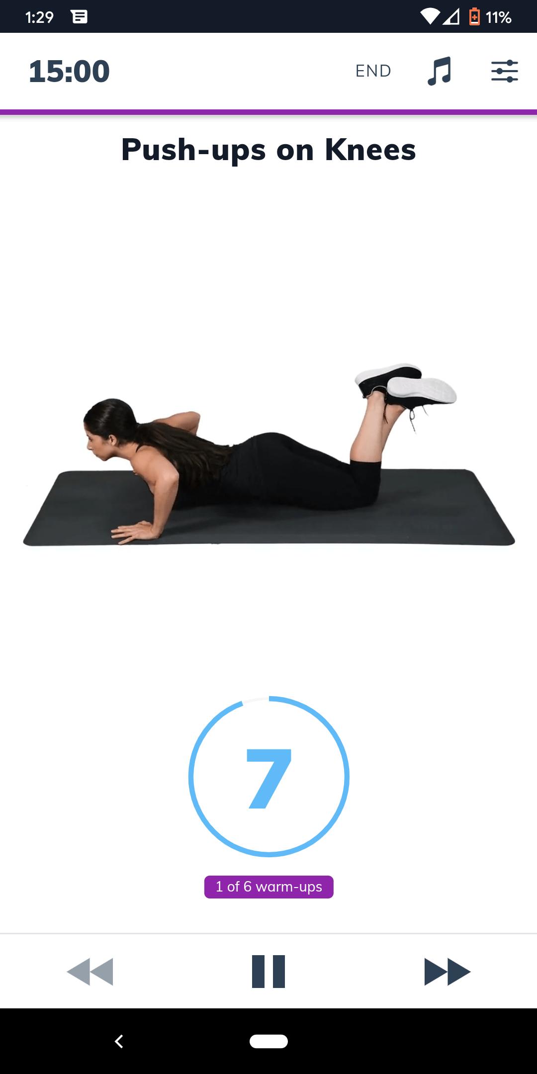 Sworkit Workout Screen
