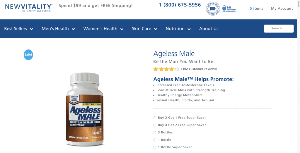 New Vitality Ageless Male website