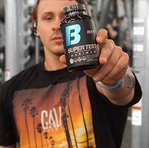 Beast Sports Nutrition Super Test Maximum with model