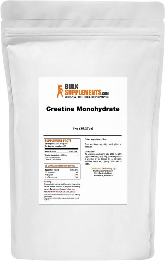 Bulk Supplements Creatine Monohydrate back label