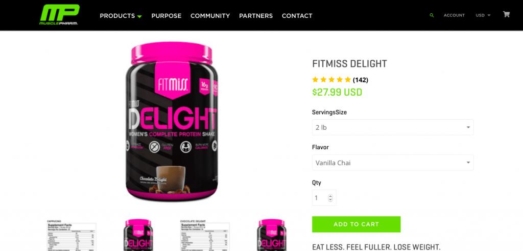 FitMiss Delight Protein Powder Website