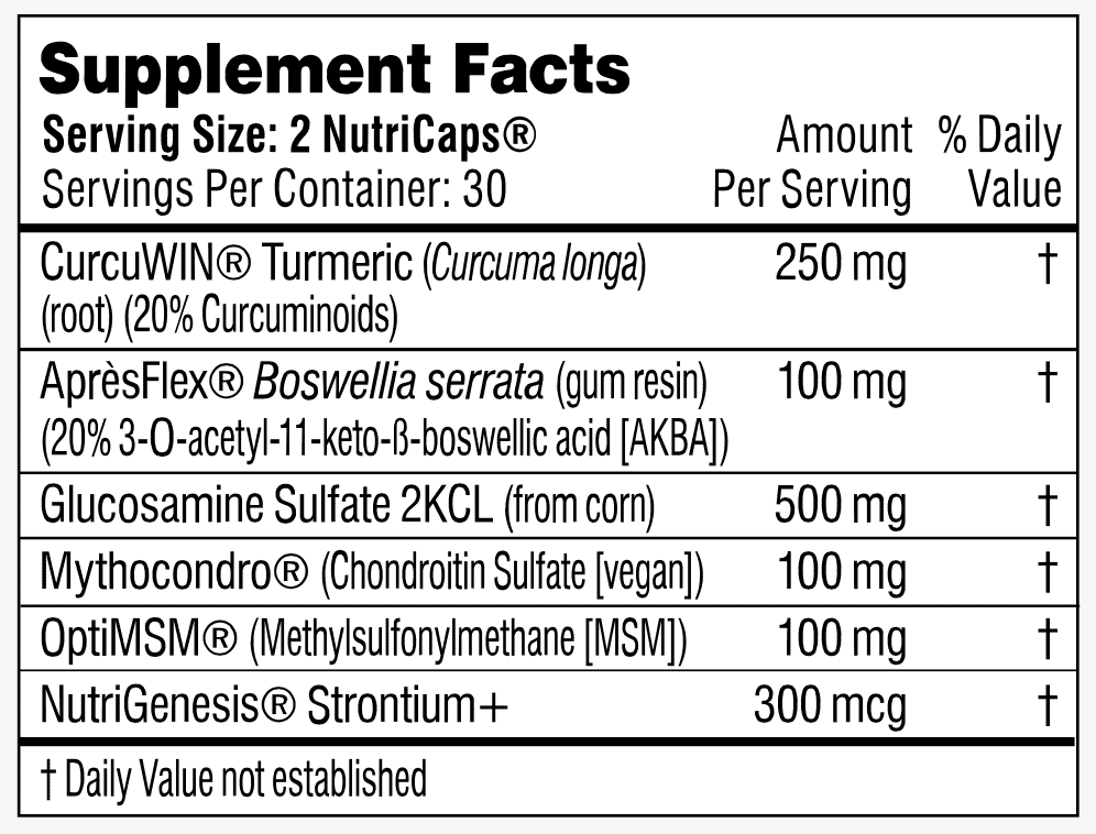 Flex By Performance Lab Supplement facts