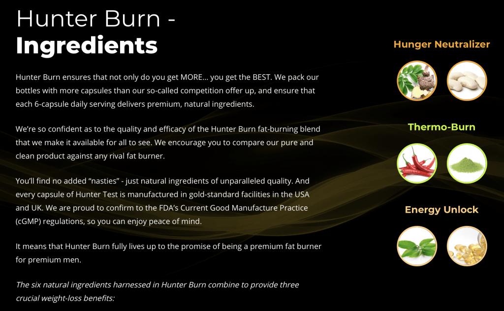 Hunter Burn Ingredients
