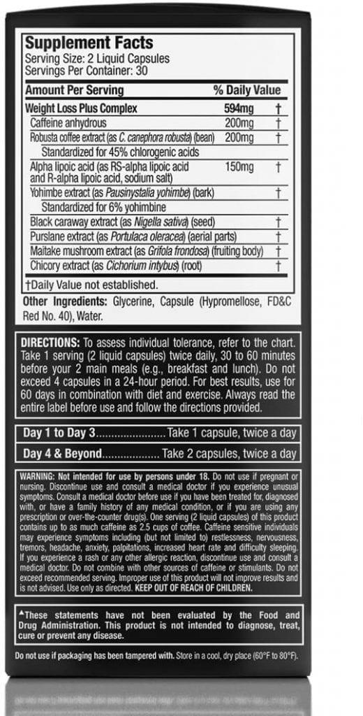 Hydroxycut Black Ingredients