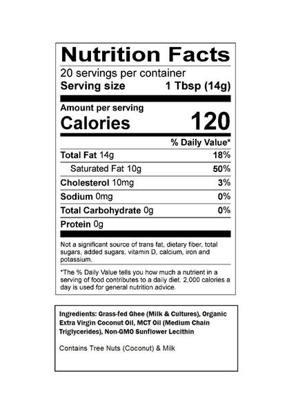 Omega PowerCreamer Nutrition Facts