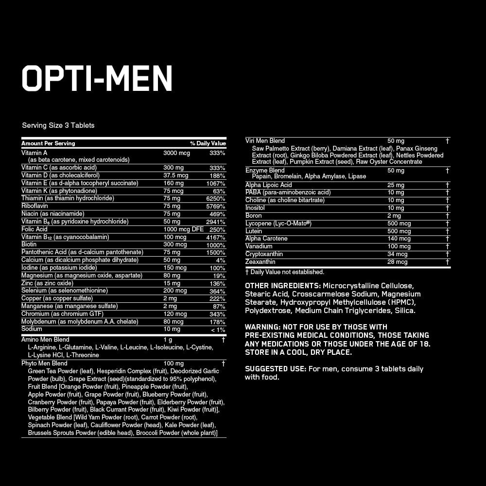 Opti-Men Supplement Facts