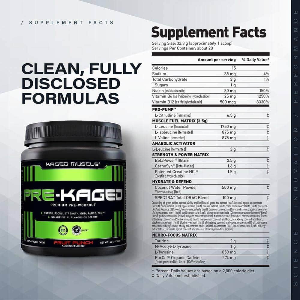 Pre-Kaged Premium Pre-Workout supplement facts