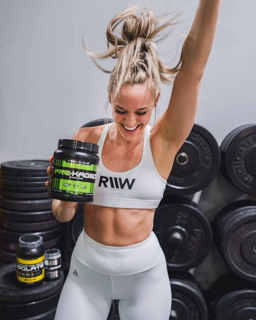 Pre-Kaged Premium Pre-Workout with model