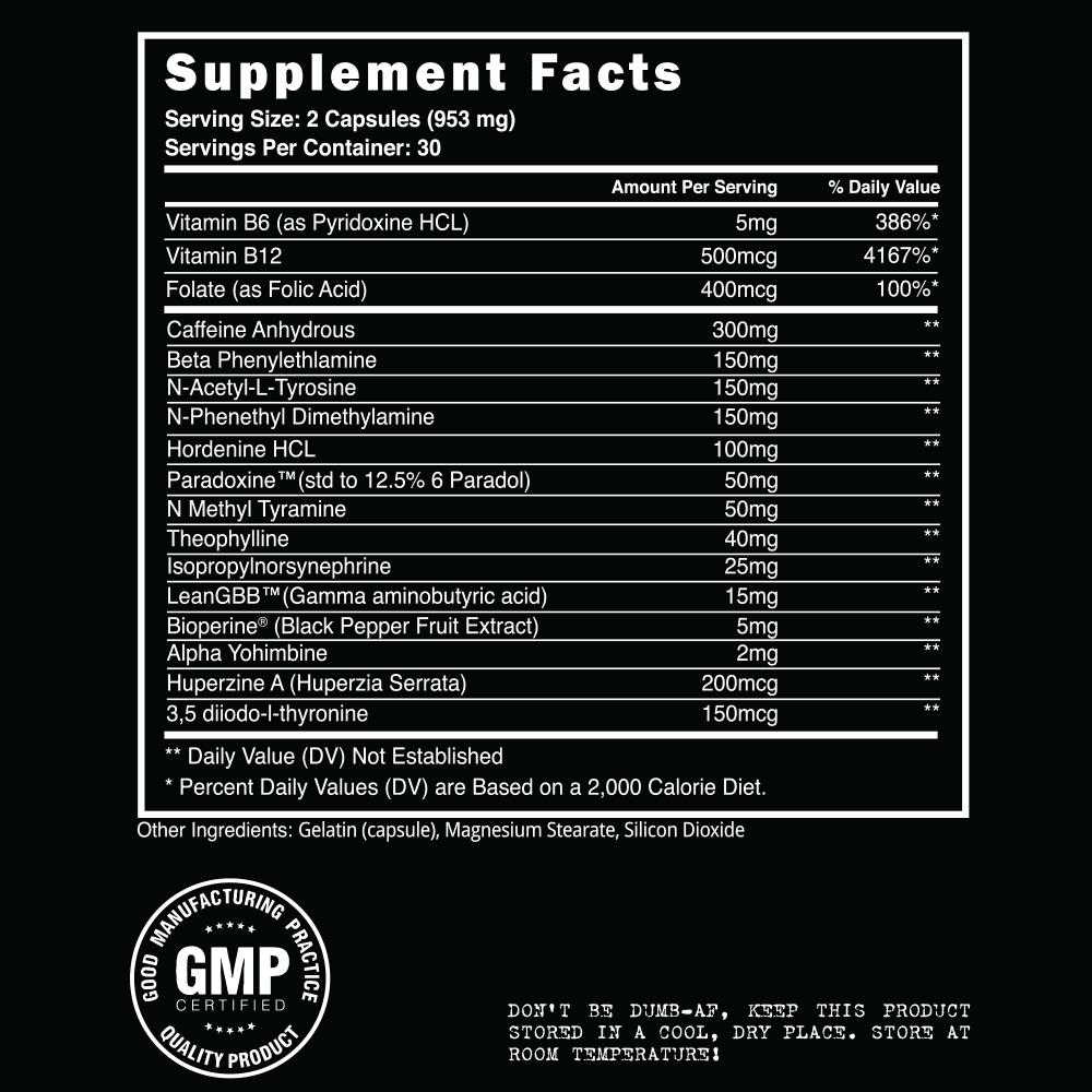 Steel Shredded AF Supplement facts