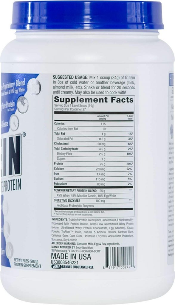 Trutein Protein supplement facts