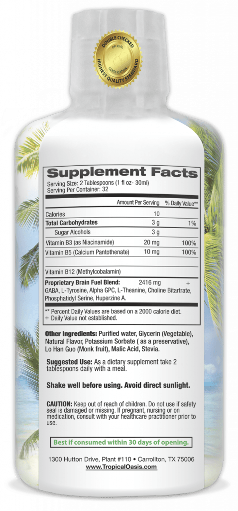 Tropical Oasis' Brain Fuel supplement facts