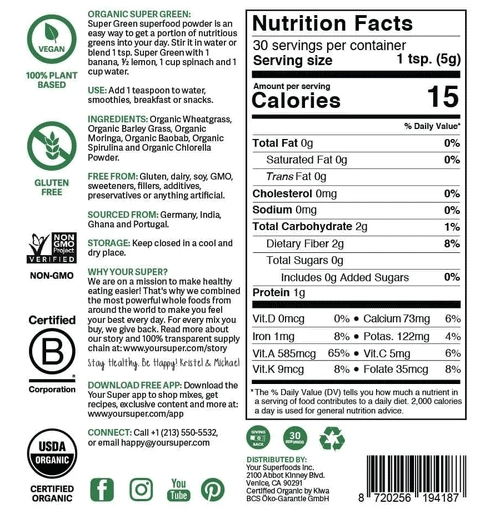 Your Super Super Green Mix Nutrition Facts