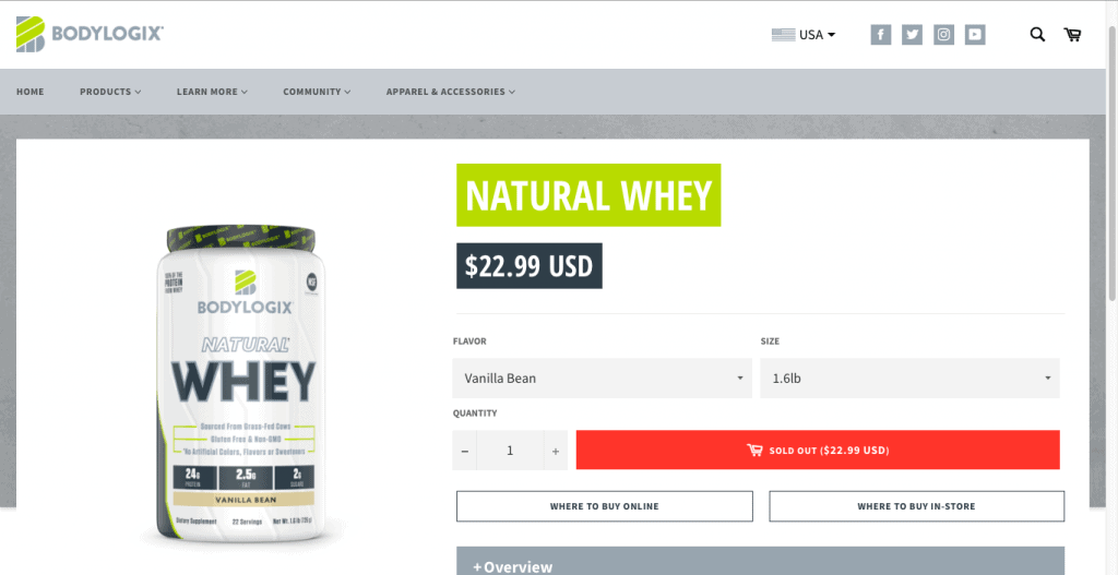 Bodylogix Natural Whey Website