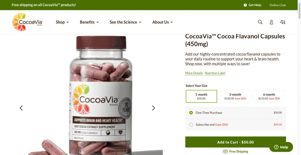CocoaVia website