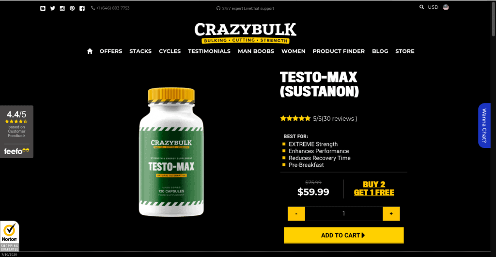 CrazyBulk Testo-Max Website