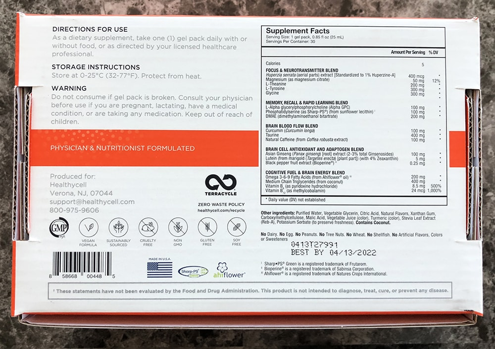 Healthycell Focus and Recall Ingredients