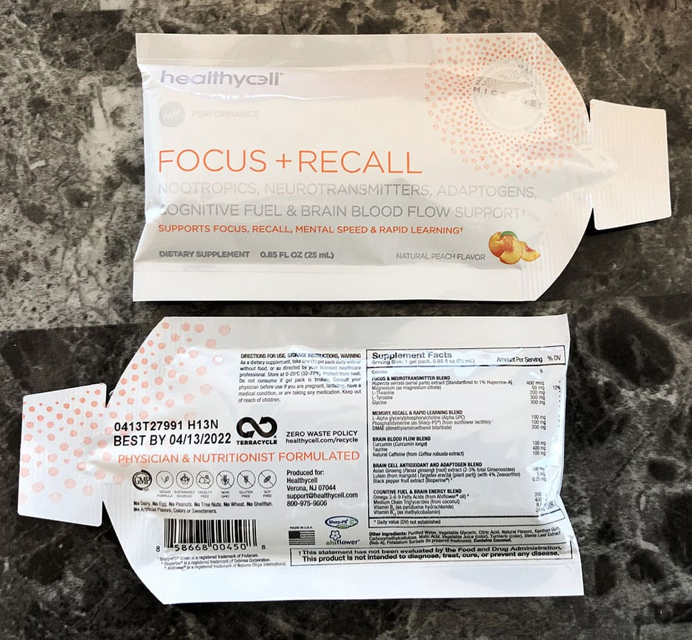 Healthycell Focus + Recall Packets