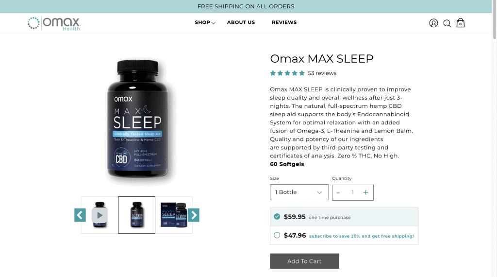 Omax MAX SLEEP Website