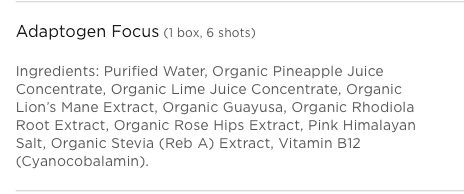 Adaptogen Focus Ingredients