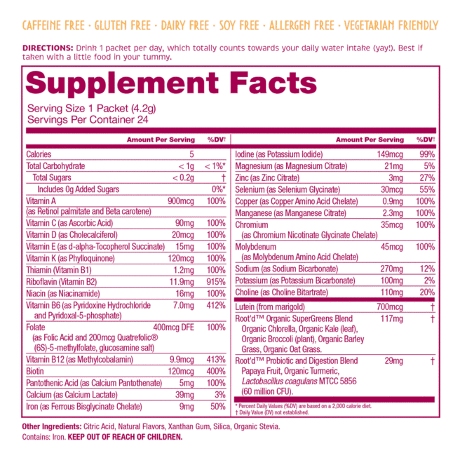 Root'd Women's Multivitamin Drink Mix Supplement Facts