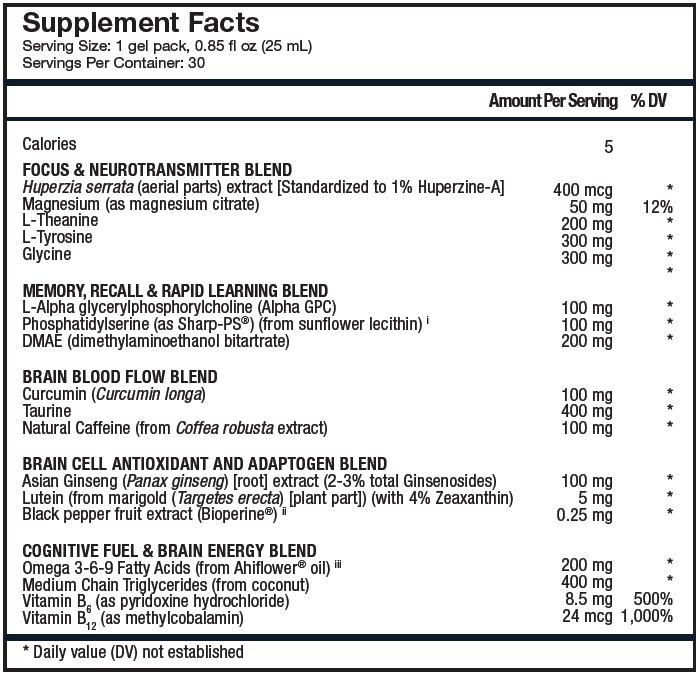 Focus + Recall Supplement Facts